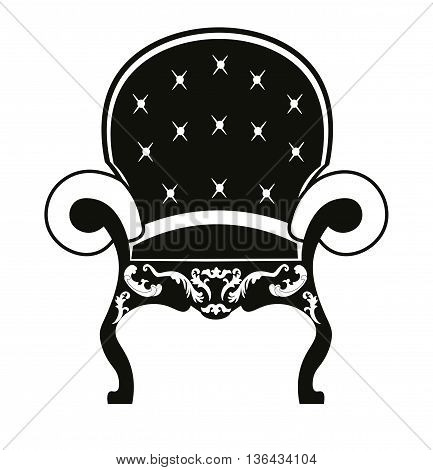 Baroque style armchair with rich ornaments in black. Vector sketch