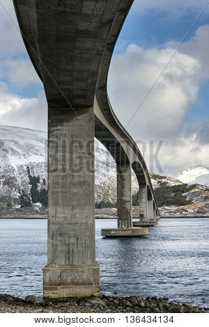 Gimsoystraumen Bridge on Lofoten Islands Norway .