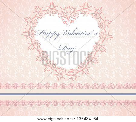 Happy Valentine's Day Lace Heart Card. Vector