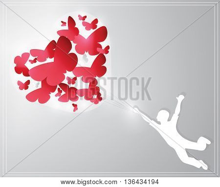 Valentine's Day Card representing a boy guided by butterflies love feelings. Vector