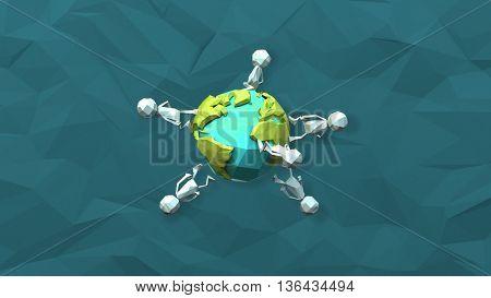 Paper men walking around the earth