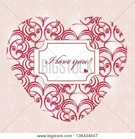 Happy valentines day card in shape of a heart with text. Pink Background With Ornaments Hearts. Doodles and curls. I Love You text. Vector illustration