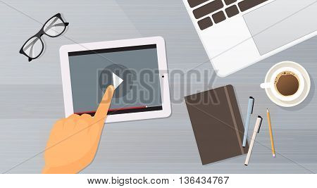 Video Blog Tablet Computer Player Top View Flat Vector Illustration