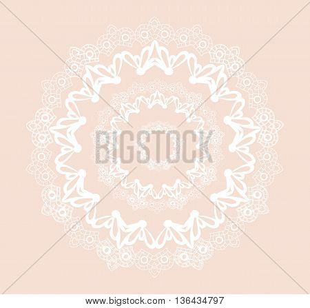 Vector round ornamental lace crochet with floral elements. Elegant lacy feather decoration greeting card wedding invitation or announcement template