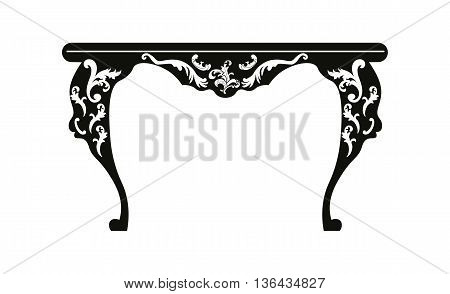 Vintage Baroque Rich table with luxurious ornaments. Vector
