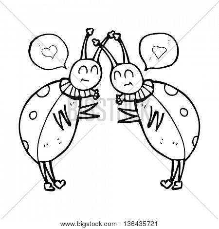 freehand drawn speech bubble cartoon ladybugs greeting