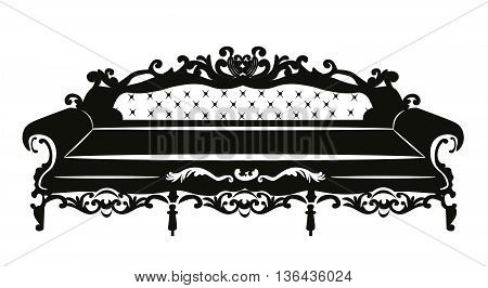 Vintage Baroque Classic Sofa with luxurious ornaments. Vector