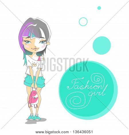 Cute Fashion Girl In Shorts With Backpack And Gumshoes. Cartoon Girl With A Colored Blue And Purple