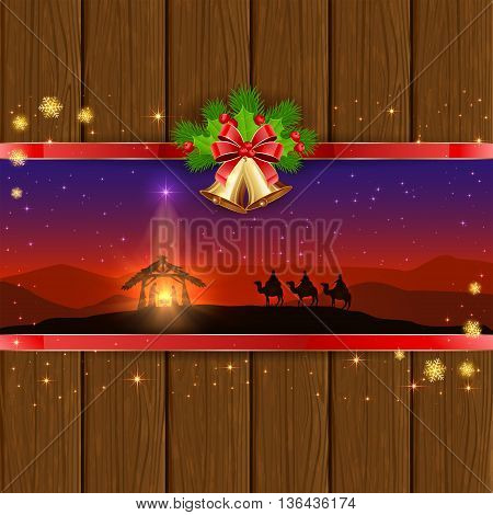 Christmas scene, the birth of Jesus with Christmas star, three wise men, golden bells, red bow, holly berries, stars and snowflakes on wooden background, illustration.