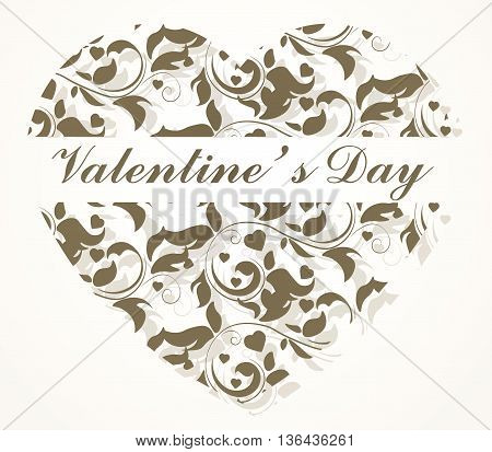 Happy valentines day card in shape of a ornamented heart. Place for text. Vector illustration