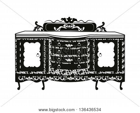 Vintage Baroque Rich Commode table with luxurious ornaments. Vector