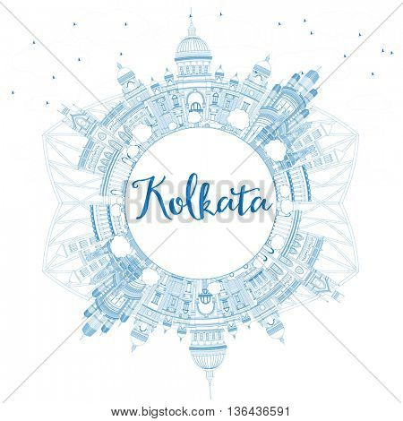 Outline Kolkata Skyline with Blue Landmarks and Copy Space. Business Travel and Tourism Concept with Historic Buildings. Image for Presentation Banner Placard and Web Site.