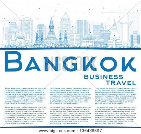 Outline Bangkok Skyline with Blue Landmarks and Copy Space. Business Travel and Tourism Concept with Bangkok City. Image for Presentation Banner Placard and Web Site.