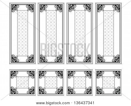 Decorative Ornamented frames for walls or backgrounds. Interior design decoration panels. Classic Baroque Vintage style. Vector frame