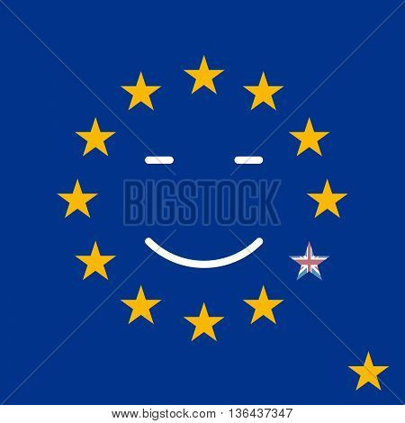 Silky Flag of Blue European Union. British exit vector illustration. Drop down the star from the circle of the European Union.