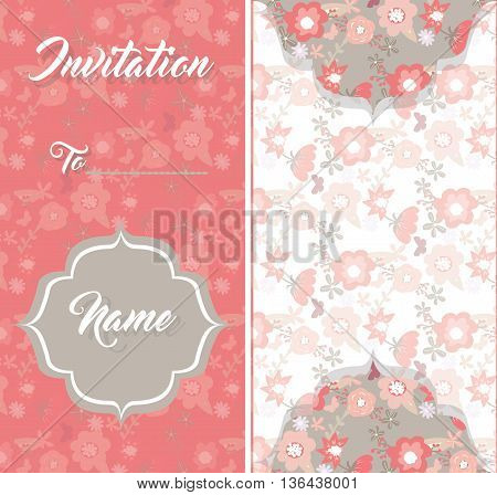Vintage card with spring flowers on a floral background. Red lace stripe. Shabby chic vintage style. Vector