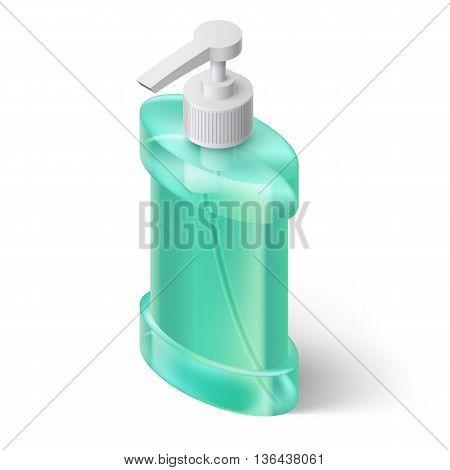 Blue Liquid Soap Dispenser in Isometric Style