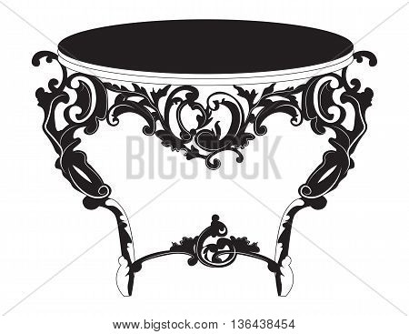 Baroque Elegant imperial classic round table in luxury style with rich ornaments. Asymmetric ornaments. Vector