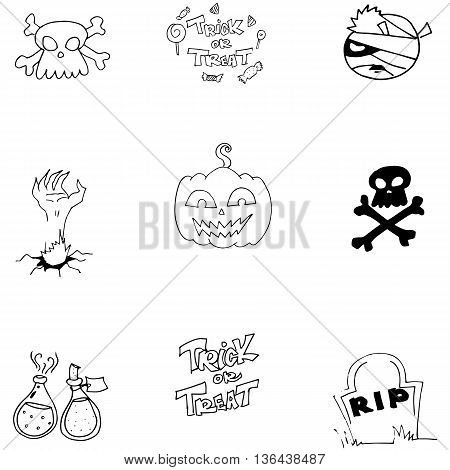 Doodle vector art Halloween object on white backgrounds