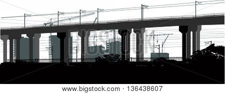 illustration with house building and modern bridge on white background
