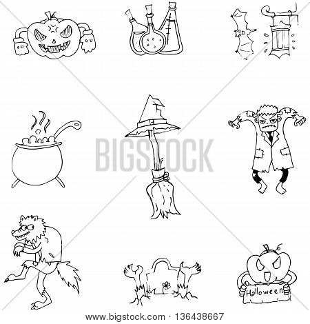 Halloween character and element in doodle flat