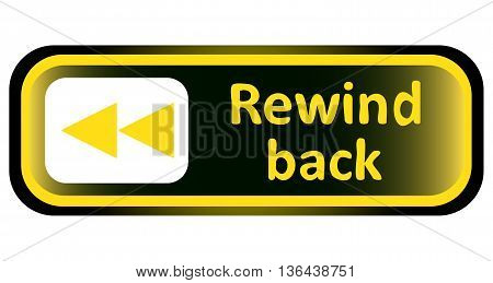 Long icon the button with a rewind back symbol