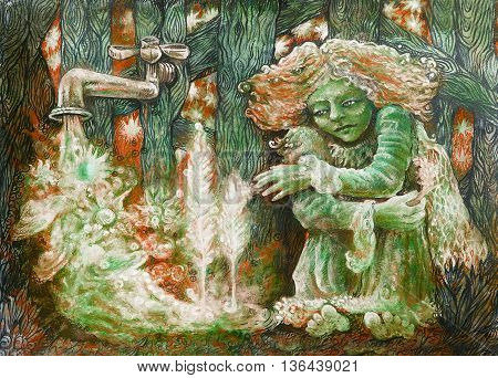 green fairy in the garden with starry water stream.