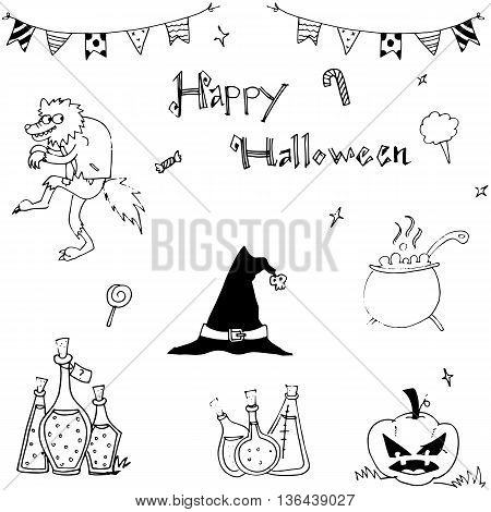 Happy Halloween flat in doodle vector illustration