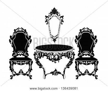 Vintage Baroque chair and table set with luxurious ornaments. Vector