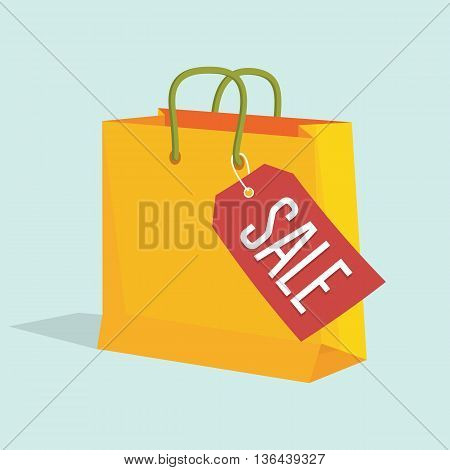 Vector illustration of paper shopping bag with sale tag. EPS 10