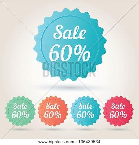 Vector sale 60 per cent badge sticker. EPS10