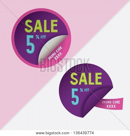 Two round stickers with 5 per cent discount and promo code for web site, for web banners. Eps10 vector