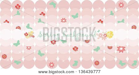 Hello Spring card or invitation with flowers. Rose quartz pink color. Vector illustration