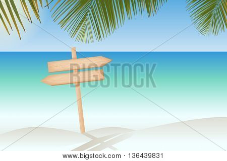 Natural textured wooden two arrows signboard on a pole at the paradise beach vector illustration