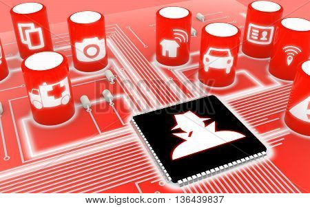 Compromised circuit board with IOT icons in red with a hacker on the main chip 3D illustration security concept