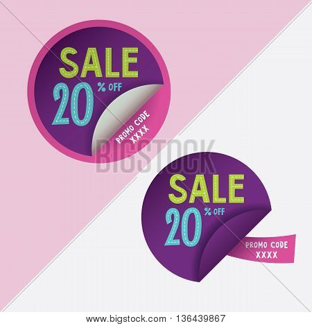 Two round stickers with 20 per cent discount and promo code for web site, for web banners. Eps10 vector