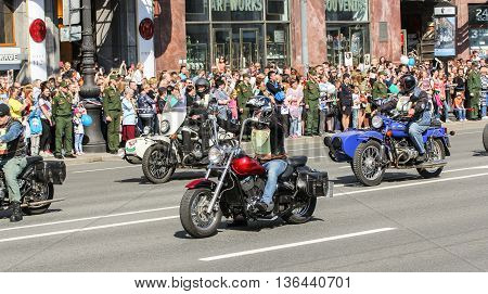 St. Petersburg, Russia - 9 May, Bikers in the memory of the shares, 9 May, 2016. Holiday-action
