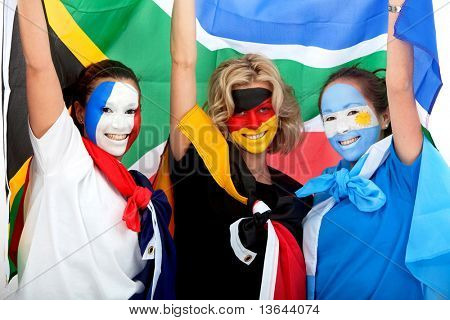 Group of football fans looking happy with their faces painted - Southafrican worl 2010