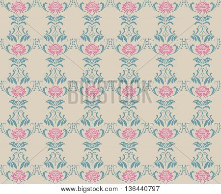 Beautiful vintage pattern with bouquets of pink flowers. Garden asters chrysanthemums daisies. Vector illustration flowers