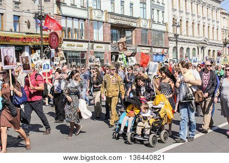 St. Petersburg, Russia - 9 May, People with children in strollers, 9 May, 2016. Holiday-action
