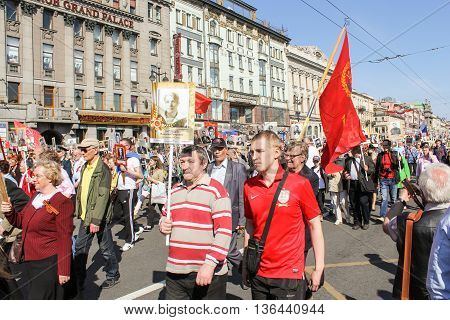 St. Petersburg, Russia - 9 May, Procession in memory of the victims, 9 May, 2016. Holiday-action