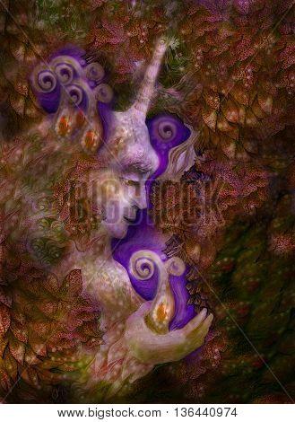 beautiful fairy unicorn creature in golden brown tones, illustration.
