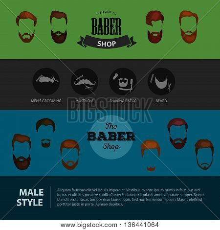 Peoples heirsyle icon, collection of beards and mustaches forbarber shop. Mans trendy haircut types for burber shop. Isolated collection mans besrds design, heircut of head heir and mustaches.