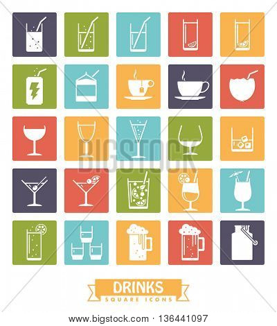 Collection of drink and beverage icons, negative in colored squares