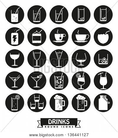 Collection of drink and beverage glyph icons , negative in black circles
