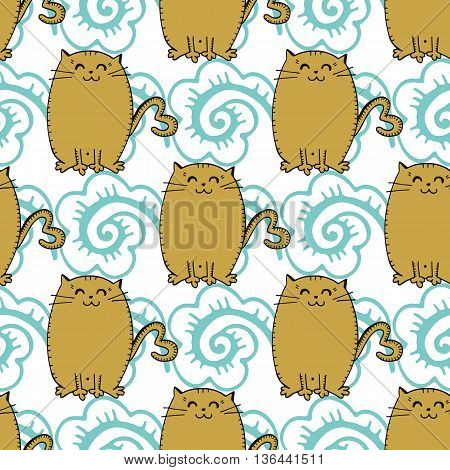 Hand drawn seamless vintage pattern. Vector image in retro style. Apparel design, poster background.