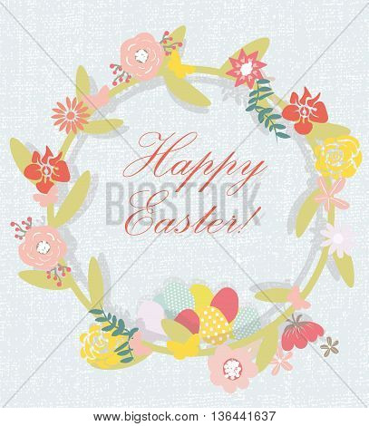 Happy Easter floral handmade card. Vector textile handmade flowers. Cute Easter wreath card with flowers