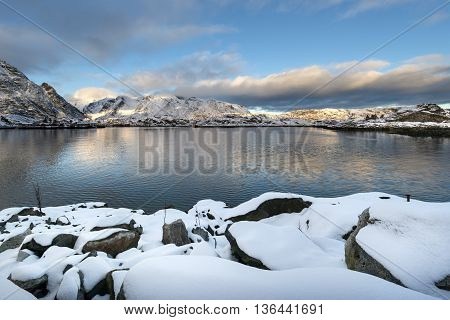 Sundown over Lofoten islands during winter time North Norway