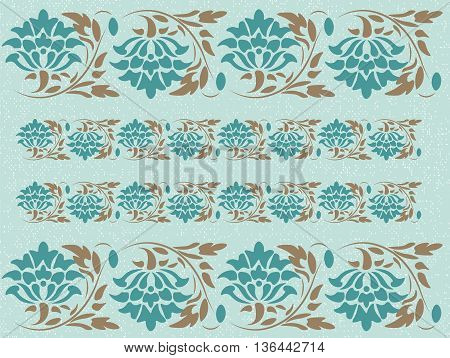 Vintage Abstract floral classic pattern ornament. Vector background for cards web fabric texture tile mosaic. opal blue color