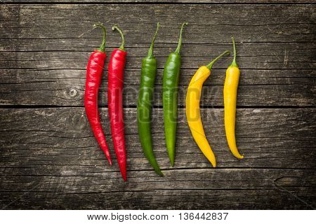 Different colors chilli peppers on old wooden table.